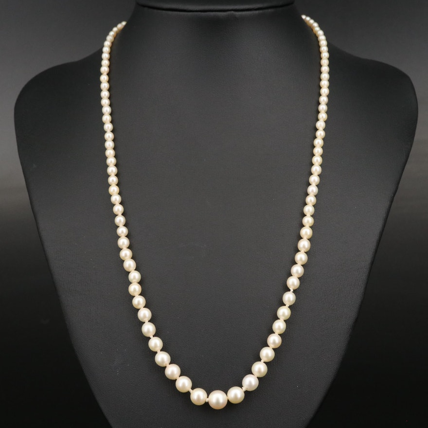 Vintage Graduated Pearl Necklace with 14K Openwork Clasp
