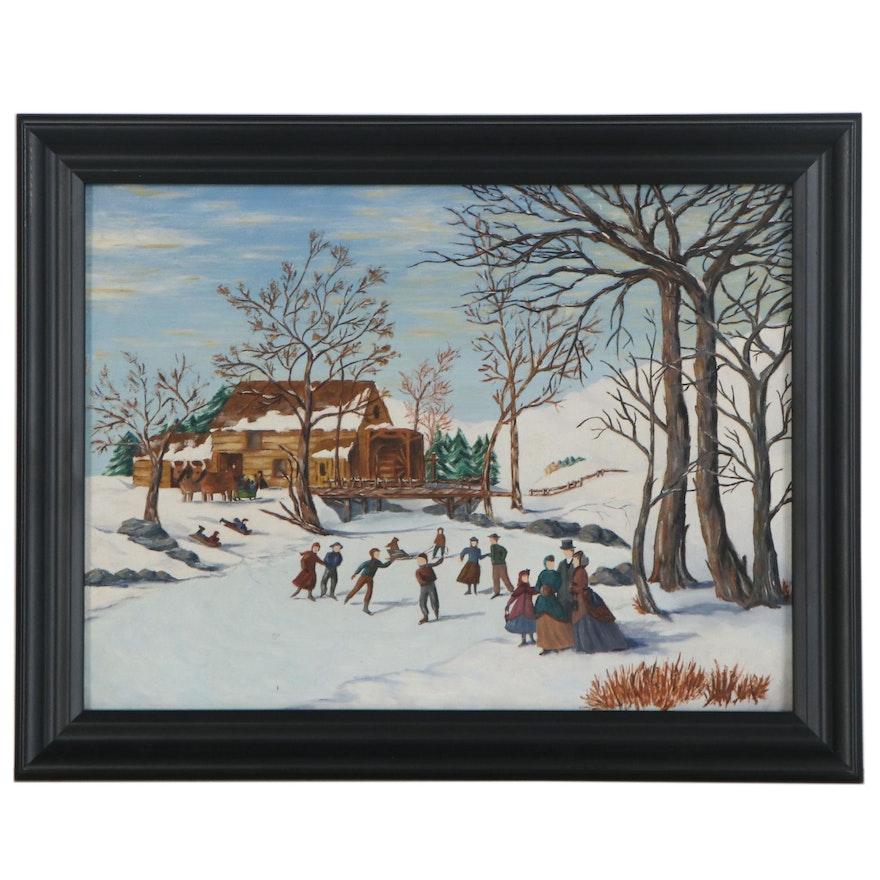 American School Folk Oil Painting of Winter Scene