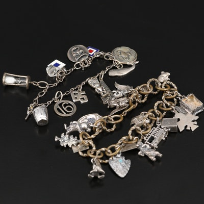 Vintage Charm Bracelets Featuring Sterling and Disney