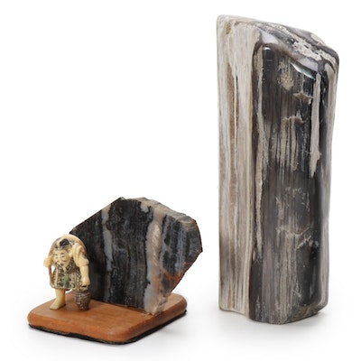 Petrified Wood Specimens Including Chinese Resin Figurine Display