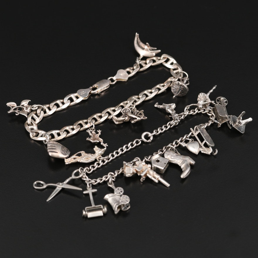 Sterling Charm Bracelets Featuring Cupid and Rhinestone Frog Charms