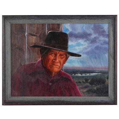 "Western Mixed Media Painting ""Grandpa and Summer Rains,"" Late 20th Century"