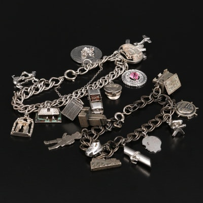 Vintage Sterling Charm Bracelets with Hope Chest and Airplane Charms