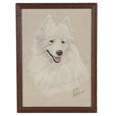 """Lois Landauer Dog Portrait Oil Painting """"Ralphie,"""" 1976"""