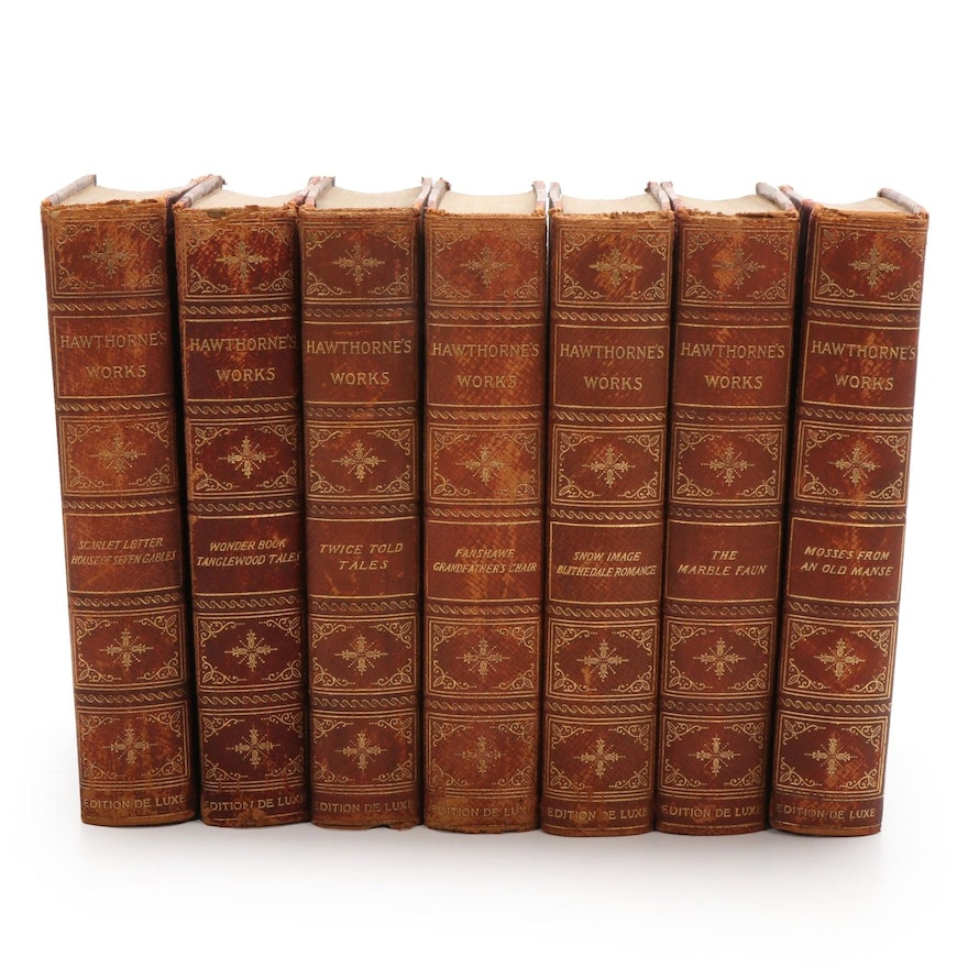 """Limited Edition De Luxe """"The Works of Nathaniel Hawthorne"""" Set, 1902"""