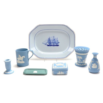 "Wedgwood Jasperware Dresser Accessories and Spode ""Trade Winds"" Platter"