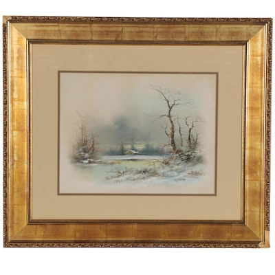 Winter Landscape Pastel Drawing