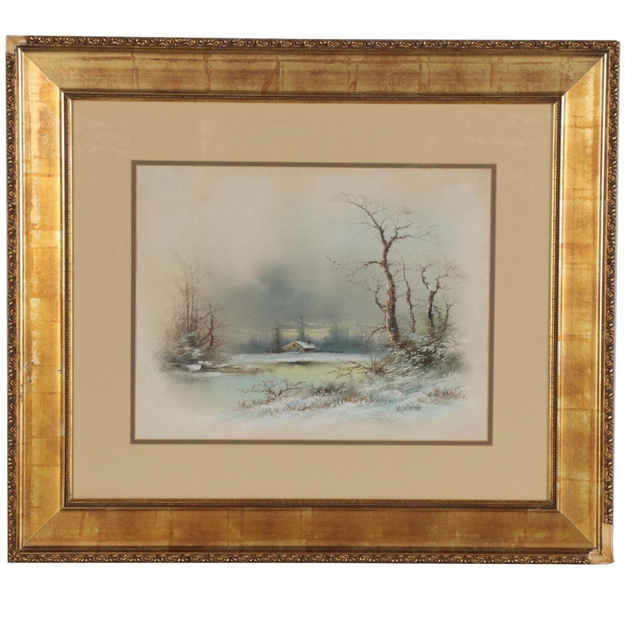 Winter Landscape Pastel Drawing