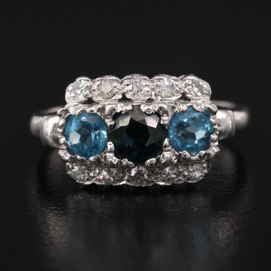 Platinum Sapphire, Zircon, and Diamond Ring