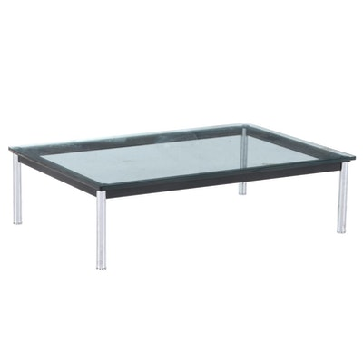 Modernist Style Chrome and Glass Top Coffee Table