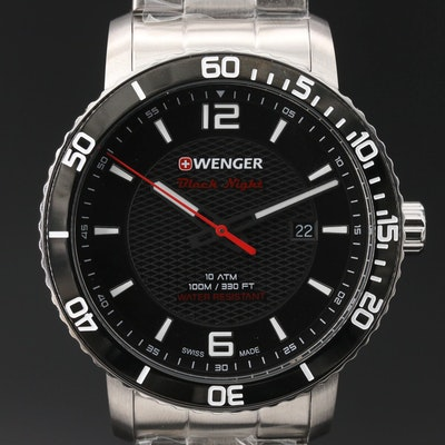 "Wenger ""Roadster Black Night"" Stainless Steel Quartz Wristwatch"