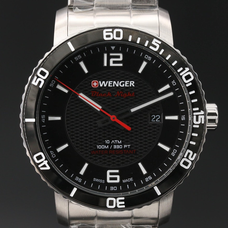 "Wenger ""Roadster Black Night"" Stainless Steel Quartz Wristwatch"