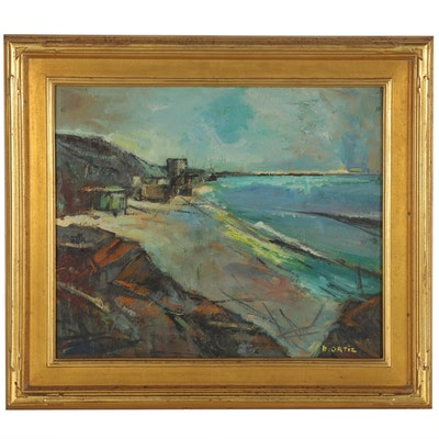 Modernist Style Coastal Landscape Oil Painting, Late 20th Century