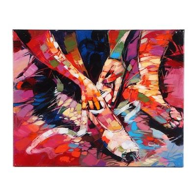 "Said Oladejo-lawal Acrylic Painting ""Gearing Up 2,"" 21st Century"