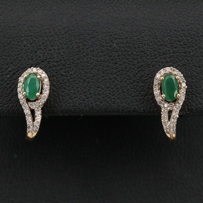 14K Emerald and Diamond Curved Earrings