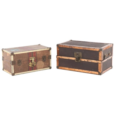 Two Doll's Wardrobe Trunks, Early to Mid 20th Century