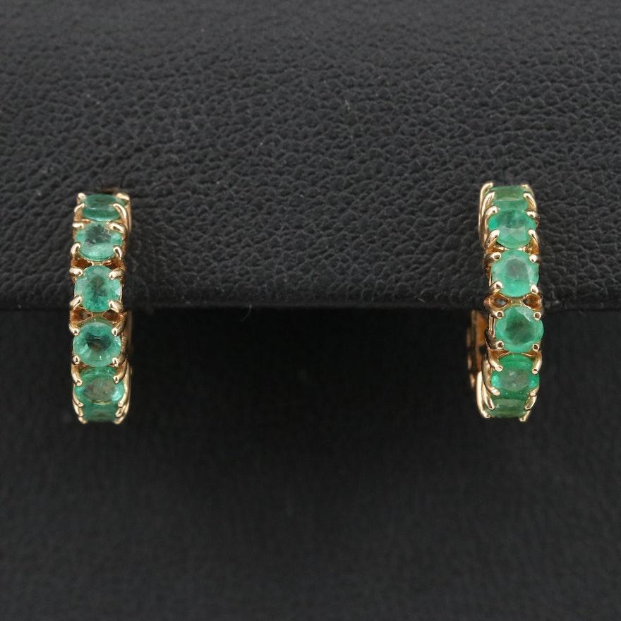 14K Emerald Hoop Earrings