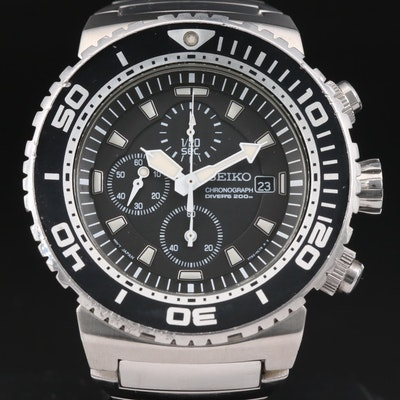Seiko SNDA13 Scuba Divers 200M Chrono Stainless Steel Quartz Wristwatch