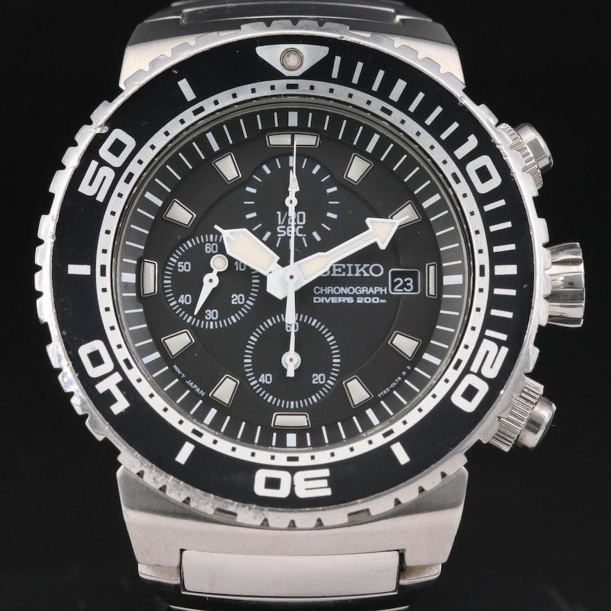 Seiko SNDA13 Scuba Divers 200M Chrono Stainless Steel Quartz Wristwatch