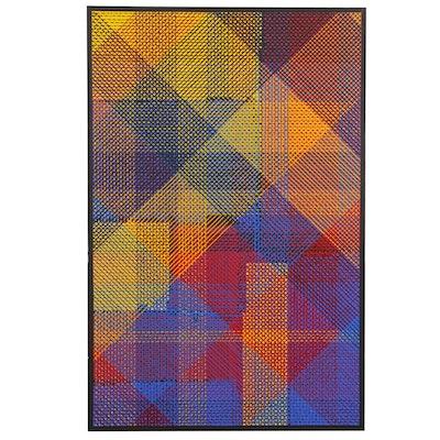 Allen Edward Kubach Geometric Oil Painting, circa 1976