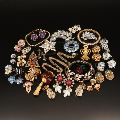 Crown Trifari, Coro and Weiss Plus Other Vintage Rhinestone Jewelry