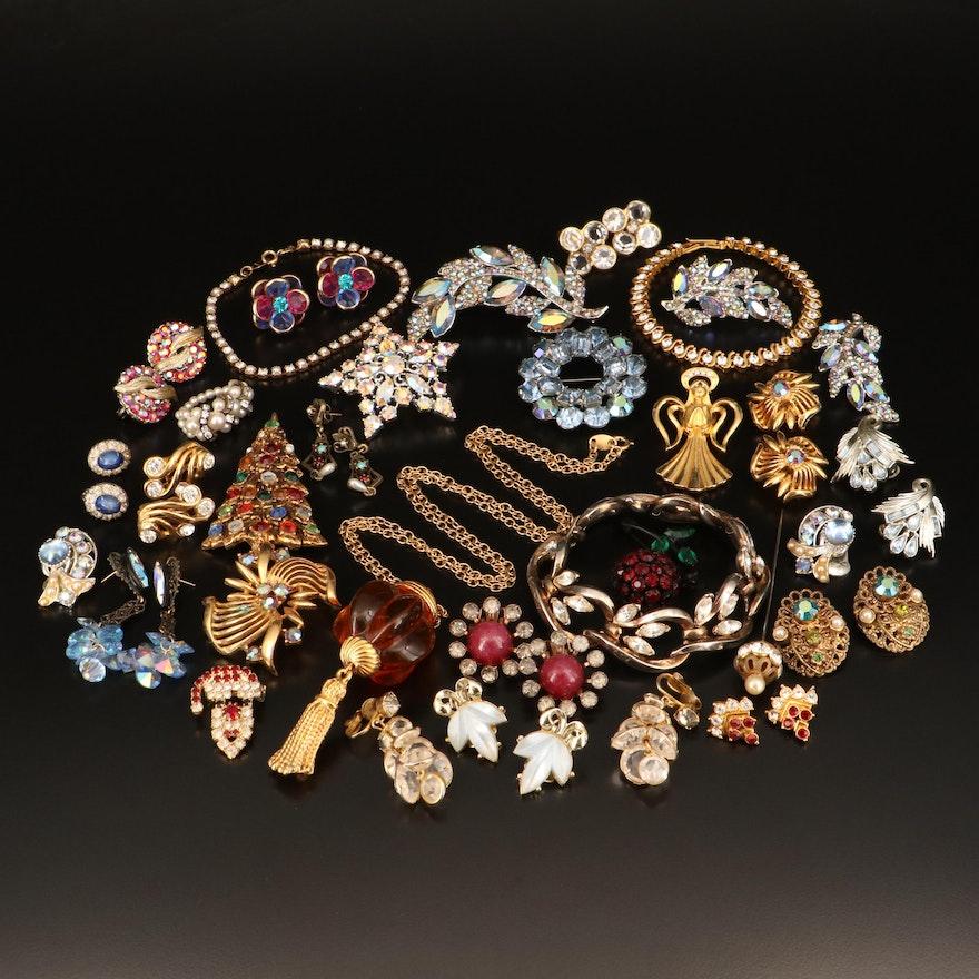 Crown Trifari, Coro and Weiss Plus Other Vintage Rhinestone Jewelry