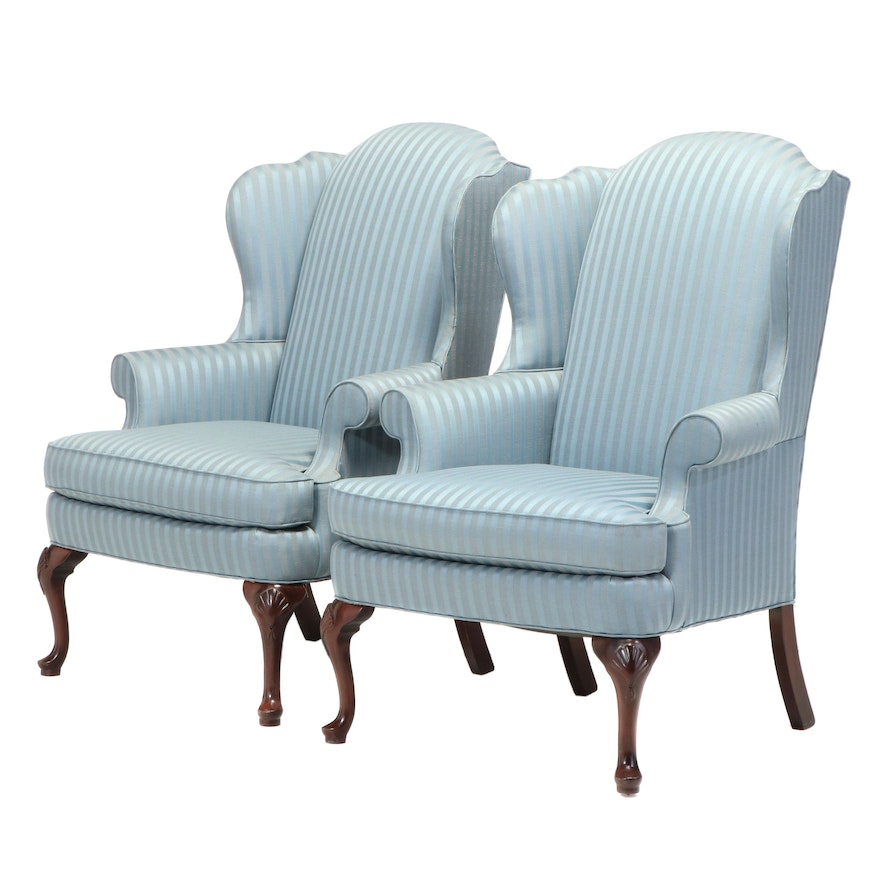 Pair of Sherrill Queen Anne Style Upholstered Armchairs