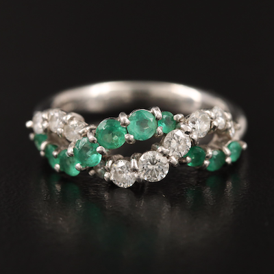 Platinum Diamond and Emerald Crossover Ring