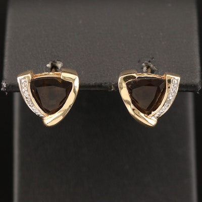 10K Smoky Quartz and Diamond Earrings