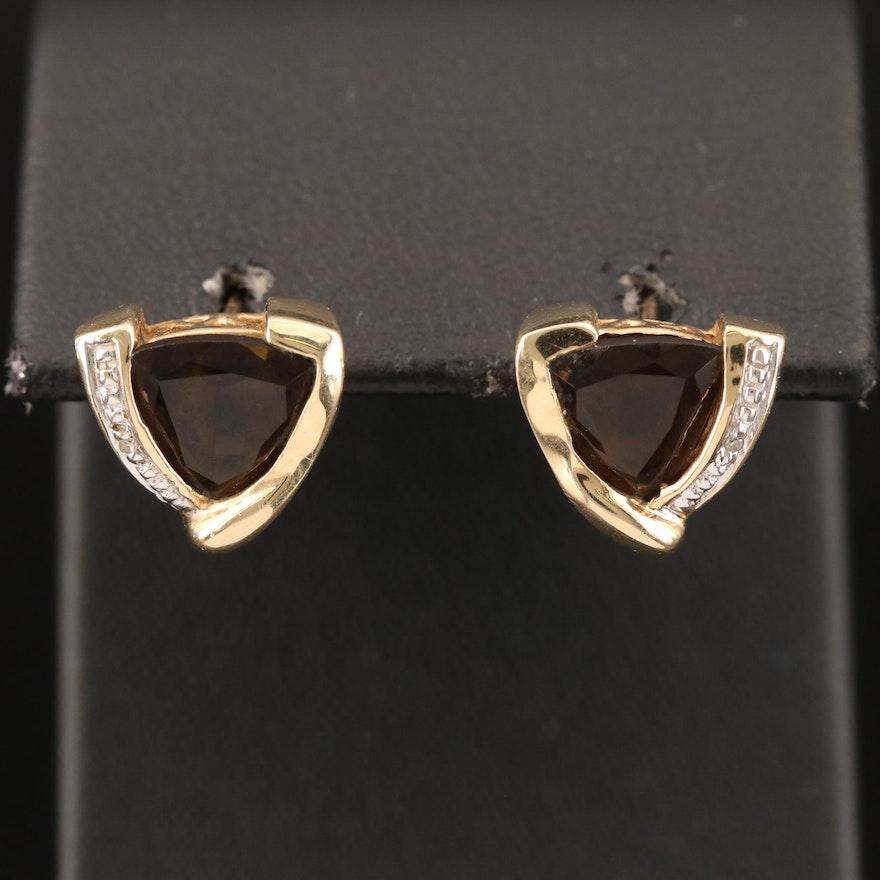10K Smoky Quartz and Diamond Earrings