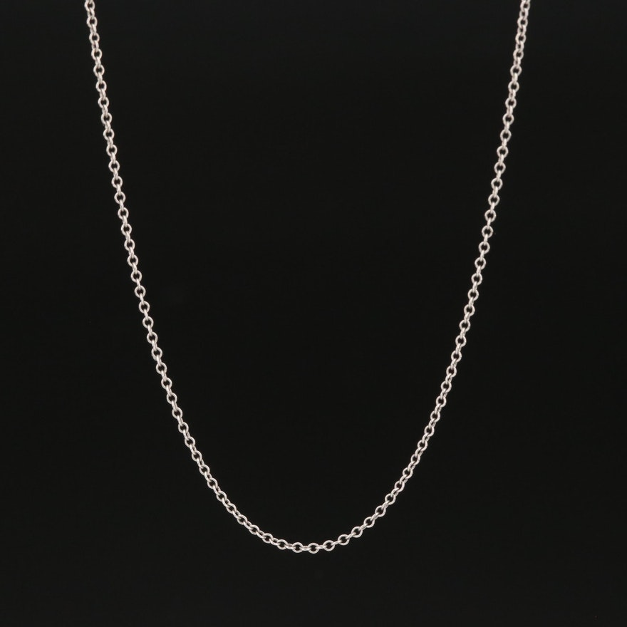 Platinum Cable Chain Necklace with 14K Clasp