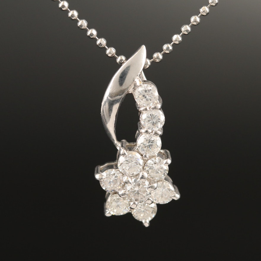 Platinum 1.00 CTW Diamond Pendant Necklace