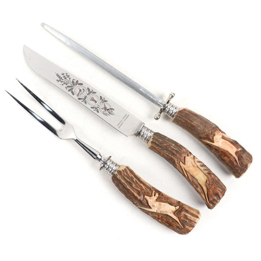 Carved Antler Three Piece Carving Set, Mid-20th Century