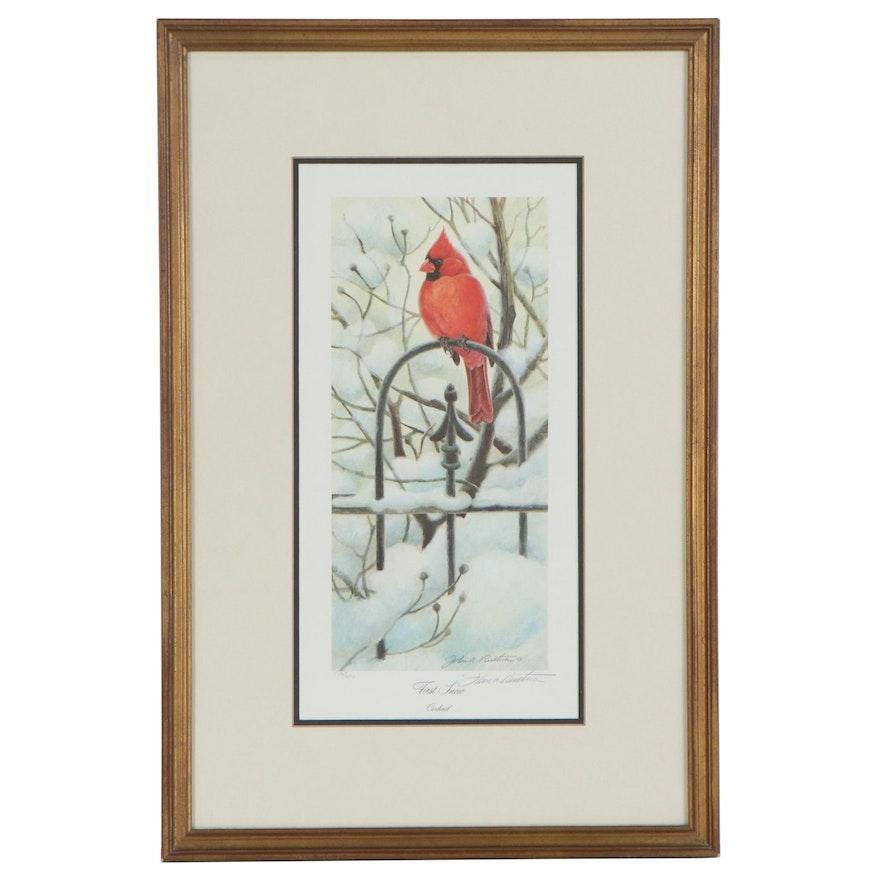 """John A. Ruthven Offset Lithograph """"First Snow, - Cardinal"""" 1991"""