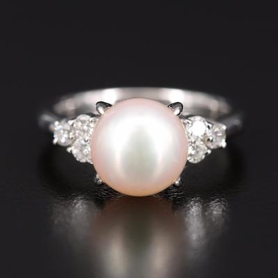 Platinum Pearl and Diamond Ring