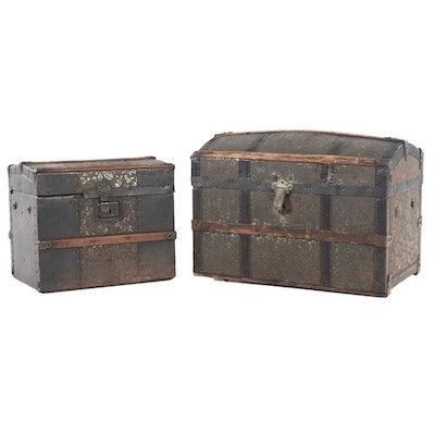 Two Late Victorian Slatted Wood and Foliate-Embossed Metal Doll's Steamer Trunks