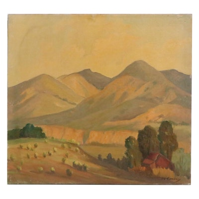 Lionel Louis Edwards Landscape Oil Painting, Mid-20th Century