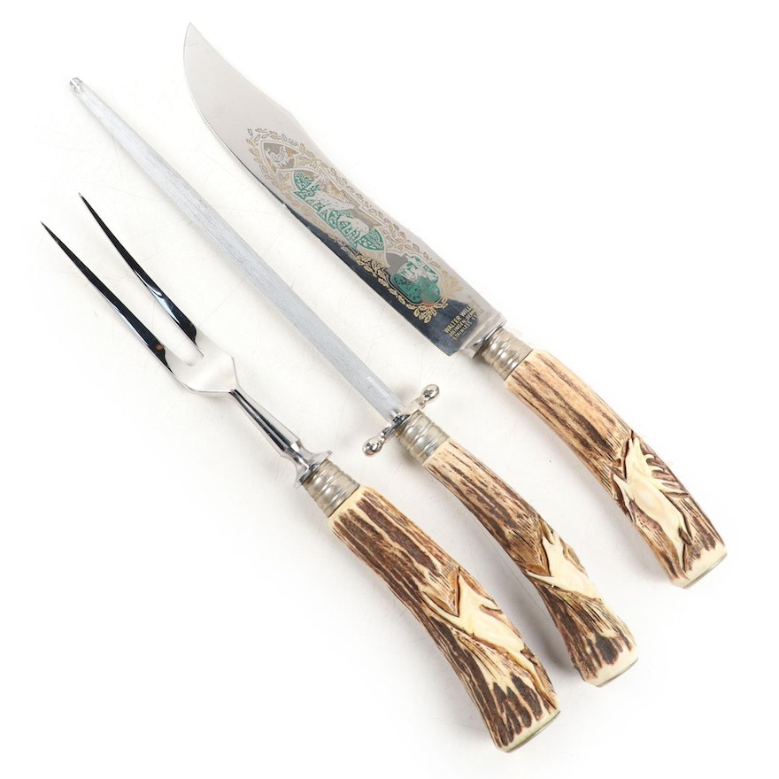 Walter Willms Three Piece Solingen Stainless Steel Carving Set, Mid-Late 20th C.
