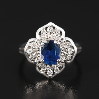 Platinum Sapphire and Diamond Quatrefoil Ring