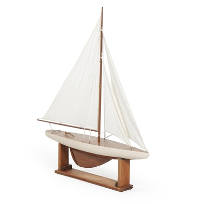 Model J Class Sailing Yacht on Wooden Stand