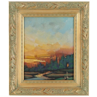 William Hawkins Oil Painting of Sunset Landscape