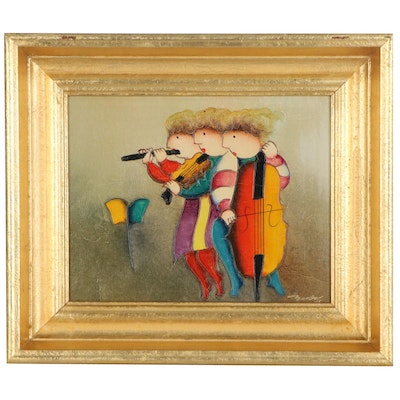 J. Roybal Oil Painting of Musicians