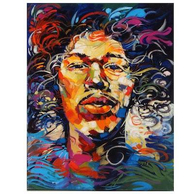 "Said Oladejo-lawal Acrylic Painting ""J. H. II,"" 2015"