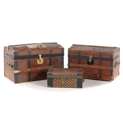 Three Late Victorian Paper-Lined and Slatted Wood Doll's Steamer Trunks