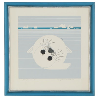 "Charley Harper Serigraph ""Whitecoat,"" 1975"