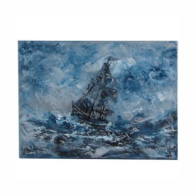 "Farshad Lanjani Acrylic Painting ""Ship in Storm,"" 21st Century"