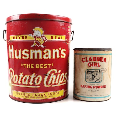 Husman's Potato Chip and Clabber Girl Baking Powder Advertisement Tins