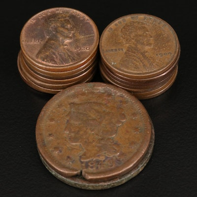 Lincoln Wheat Cents and Two Large Cents