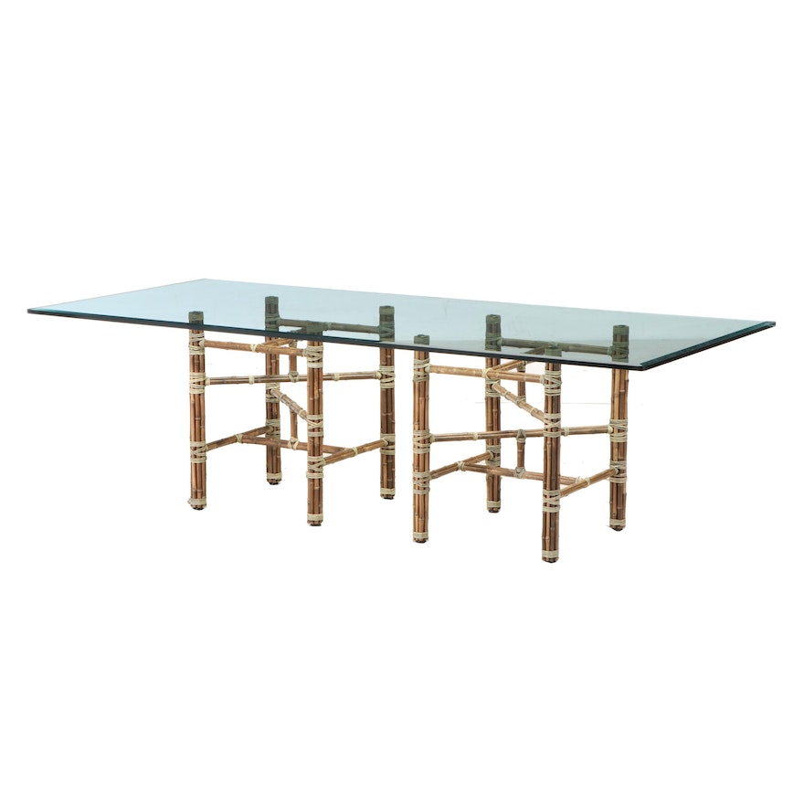 McGuire Modernist Leather-Wrapped Bamboo and Glass Top Dining Table