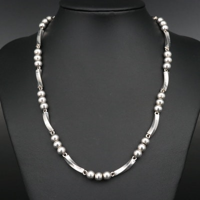 Mexican Sterling Silver Bead and Twisted Bar Necklace